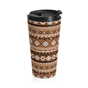 Brown African Tribal Stainless Steel Travel Mug - Mug