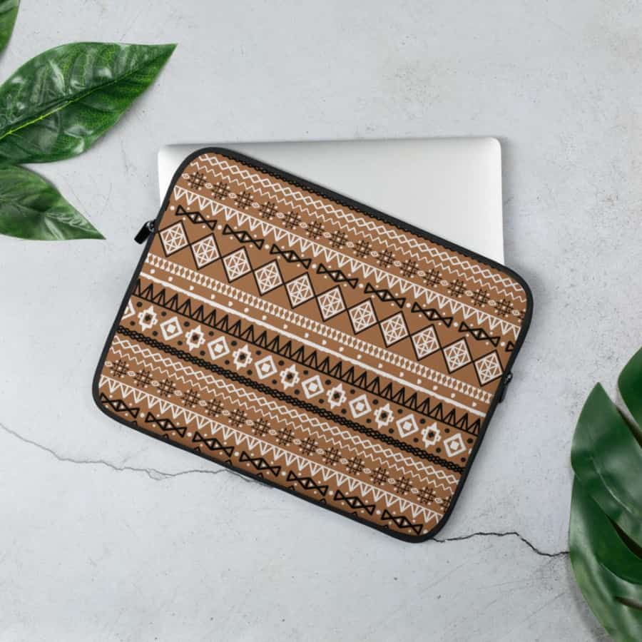 Brown Afrocentric Laptop Sleeve - 13 in - Accessories