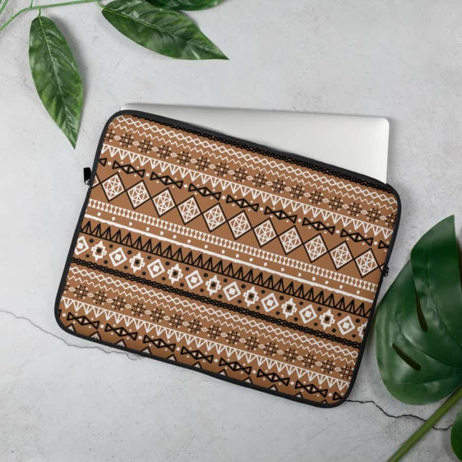 Brown Afrocentric Laptop Sleeve - 15 in - Accessories