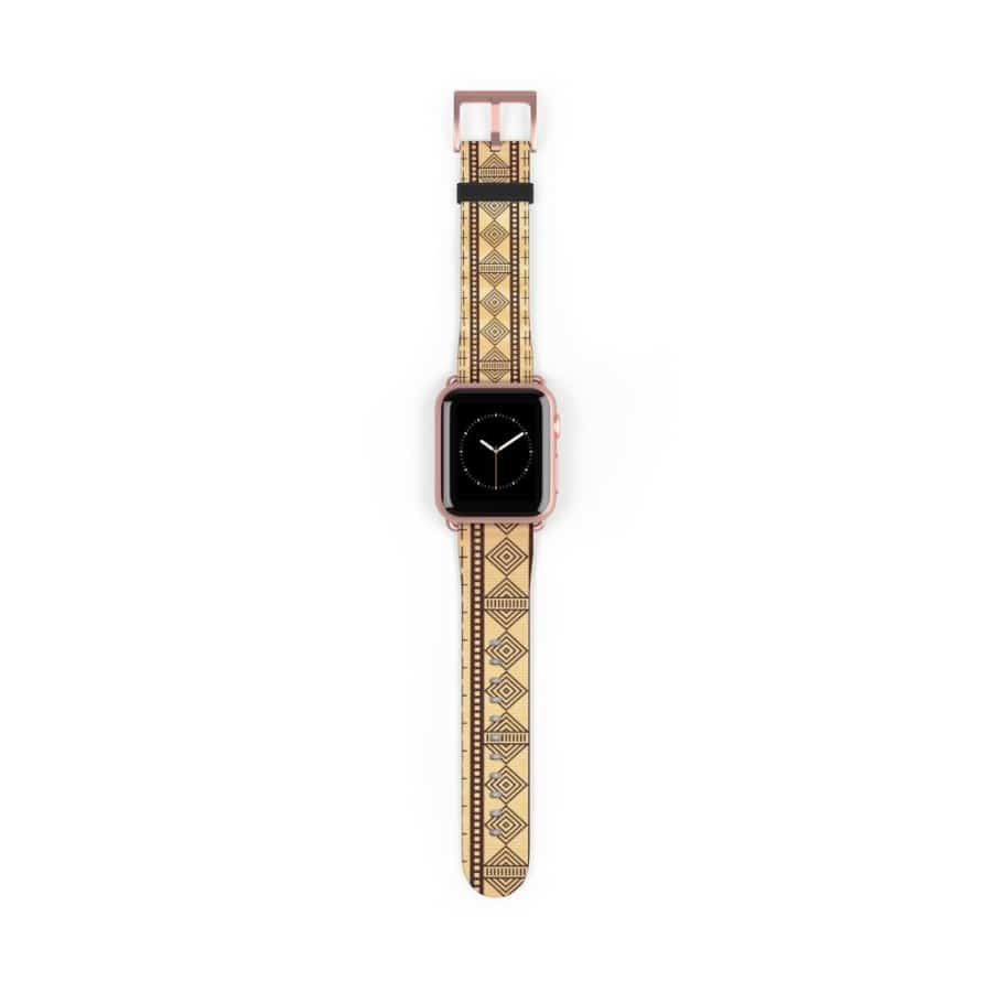 Brown Afrocentric Watch Band - 38 mm / Rose Gold Matte - Accessories