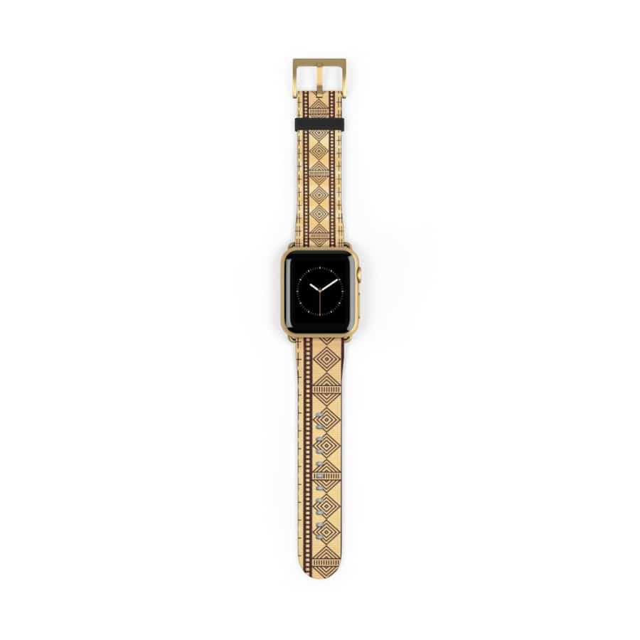 Brown Afrocentric Watch Band - 38 mm / Gold Matte - Accessories