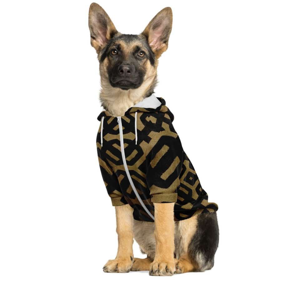 Brown Black Bogolan Dog Zip-Up Hoodie - Athletic Dog Zip-Up Hoodie - AOP