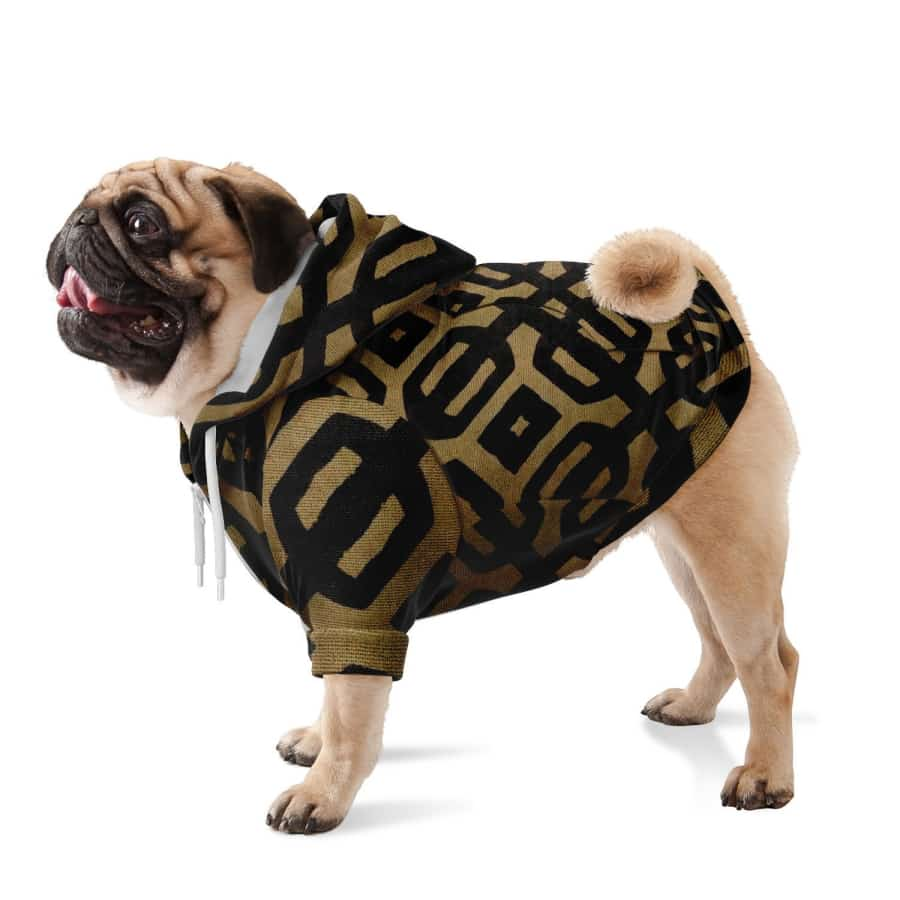 Brown Black Bogolan Dog Zip-Up Hoodie - XXS - Athletic Dog Zip-Up Hoodie - AOP