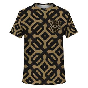 Brown Black Bogolan Pocket T-shirt - XS - Pocket T-shirt - AOP