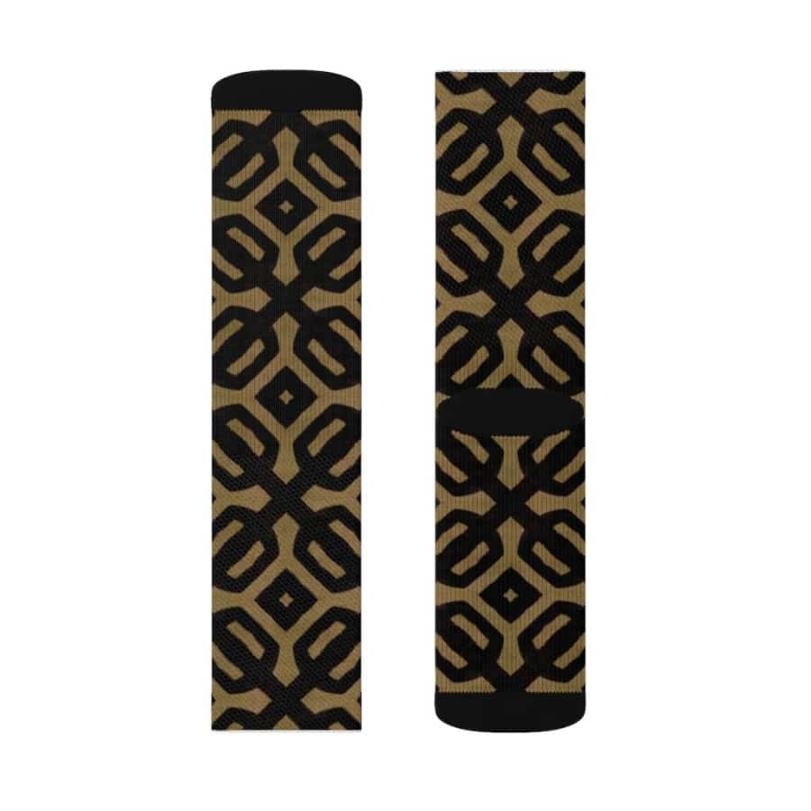 Brown Black Bogolan Sublimation Socks - All Over Prints
