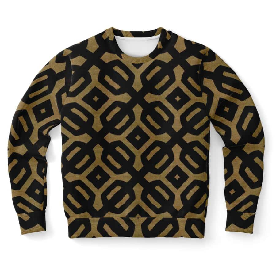 Brown Black Bogolan Sweatshirt - XS - Athletic Sweatshirt - AOP