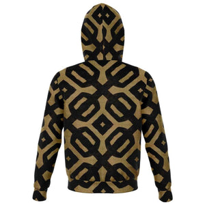 Brown Black Bogolan Zip-Up Hoodie - Athletic Zip-Up Hoodie - AOP