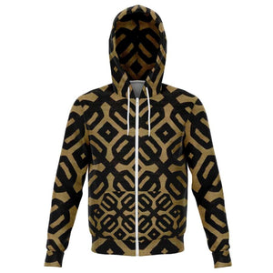 Brown Black Bogolan Zip-Up Hoodie - XS - Athletic Zip-Up Hoodie - AOP