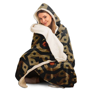 Brown Bogolan Star Circle Hooded Blanket - Hooded Blanket - AOP