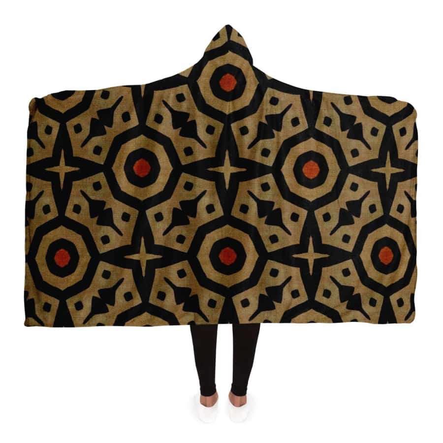 Brown Bogolan Star Circle Hooded Blanket - Adult / Premium Sherpa - Hooded Blanket - AOP