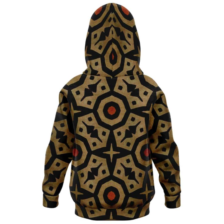 Brown Bogolan Star Circle Kids Hoodie - Athletic Kids Hoodie - AOP