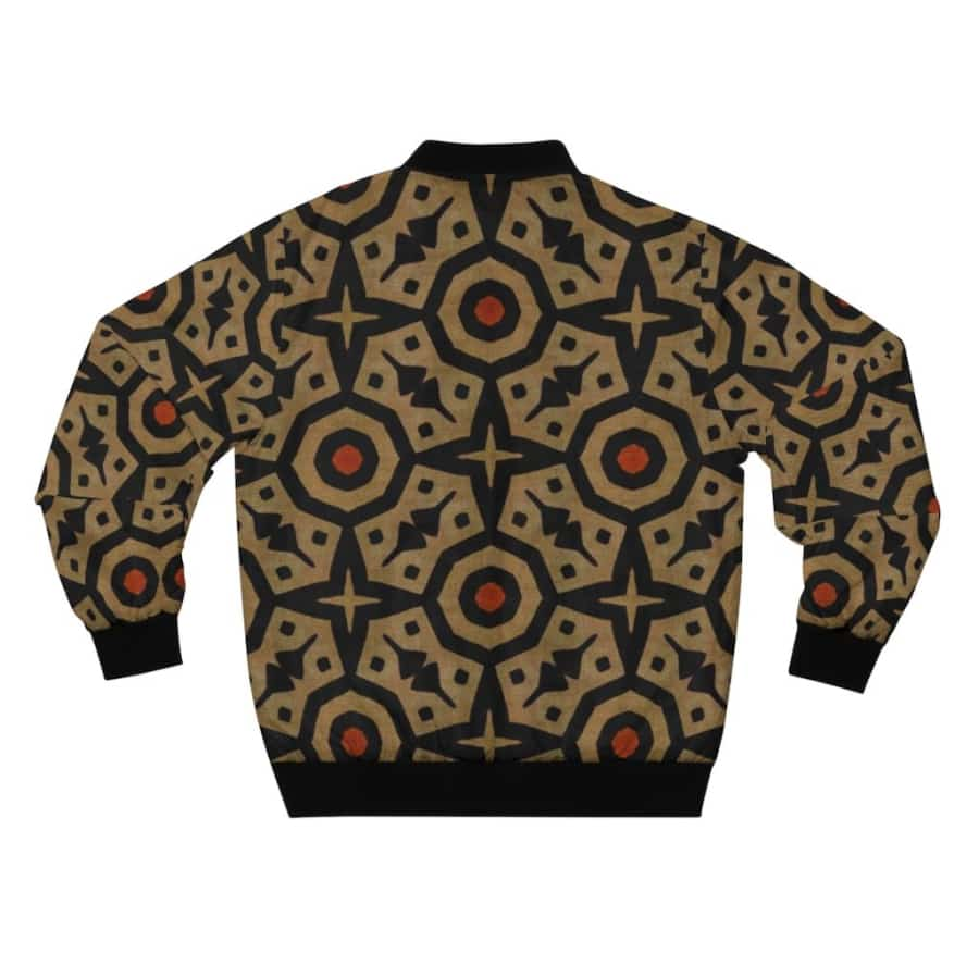 Brown Bogolan Star Circle Men's AOP Bomber Jacket - All Over Prints