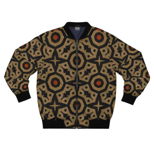 Brown Bogolan Star Circle Men's AOP Bomber Jacket - XL - All Over Prints