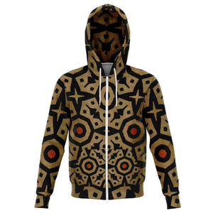 Brown Bogolan Star Circle Zip-Up Hoodie - XS - Athletic Zip-Up Hoodie - AOP