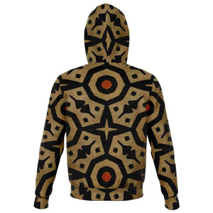Brown Bogolan Star Circle Zip-Up Hoodie - Athletic Zip-Up Hoodie - AOP