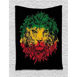 Calico lion headband black background wall hanging suitable for bedroom living room dormitory light - 150x100cm - Home Decor