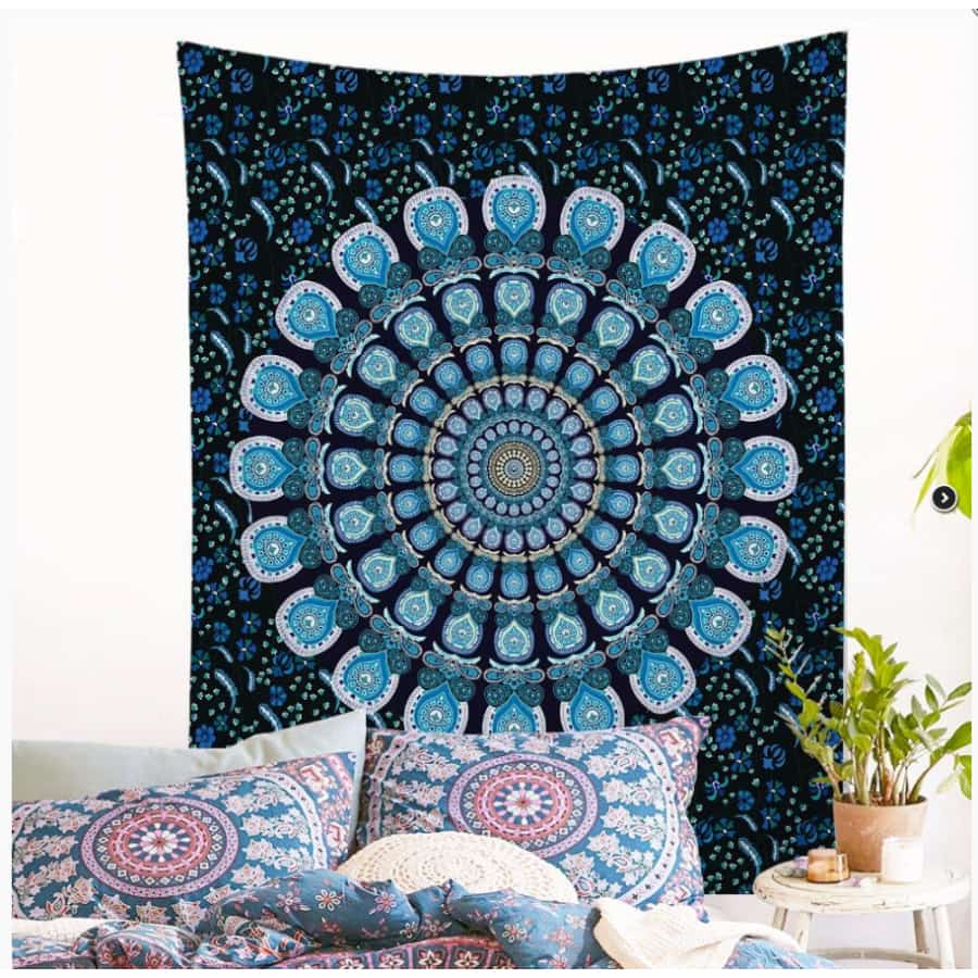 Printed mandala home tapestry wall hanging wall decoration beach towel beach blanket - 150x130cm thick / Green - Home Decor
