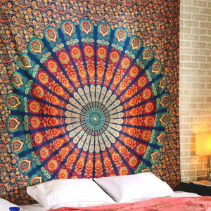 Printed mandala home tapestry wall hanging wall decoration beach towel beach blanket - 150x100cm thick / Orange - Home Decor