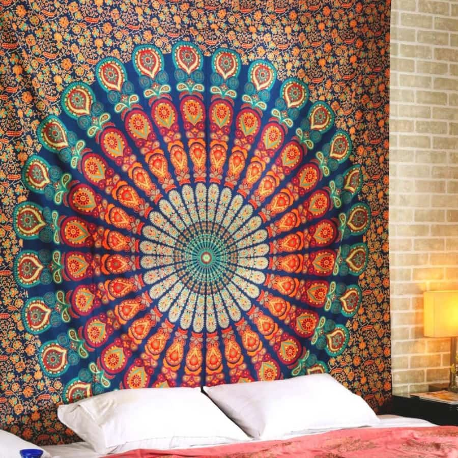Printed mandala home tapestry wall hanging wall decoration beach towel beach blanket - 200x150cm / Orange - Home Decor