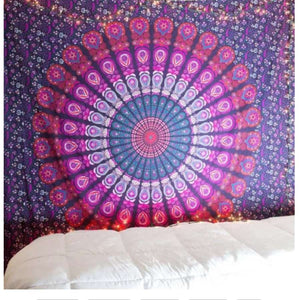 Printed mandala home tapestry wall hanging wall decoration beach towel beach blanket - 150x130cm thick / Purple - Home Decor