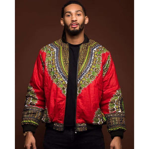 Retro ethnic men's jacket african print coat - Red / M - Men