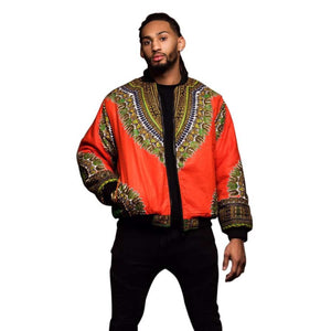 Retro ethnic men's jacket african print coat - Orange / XL - Men