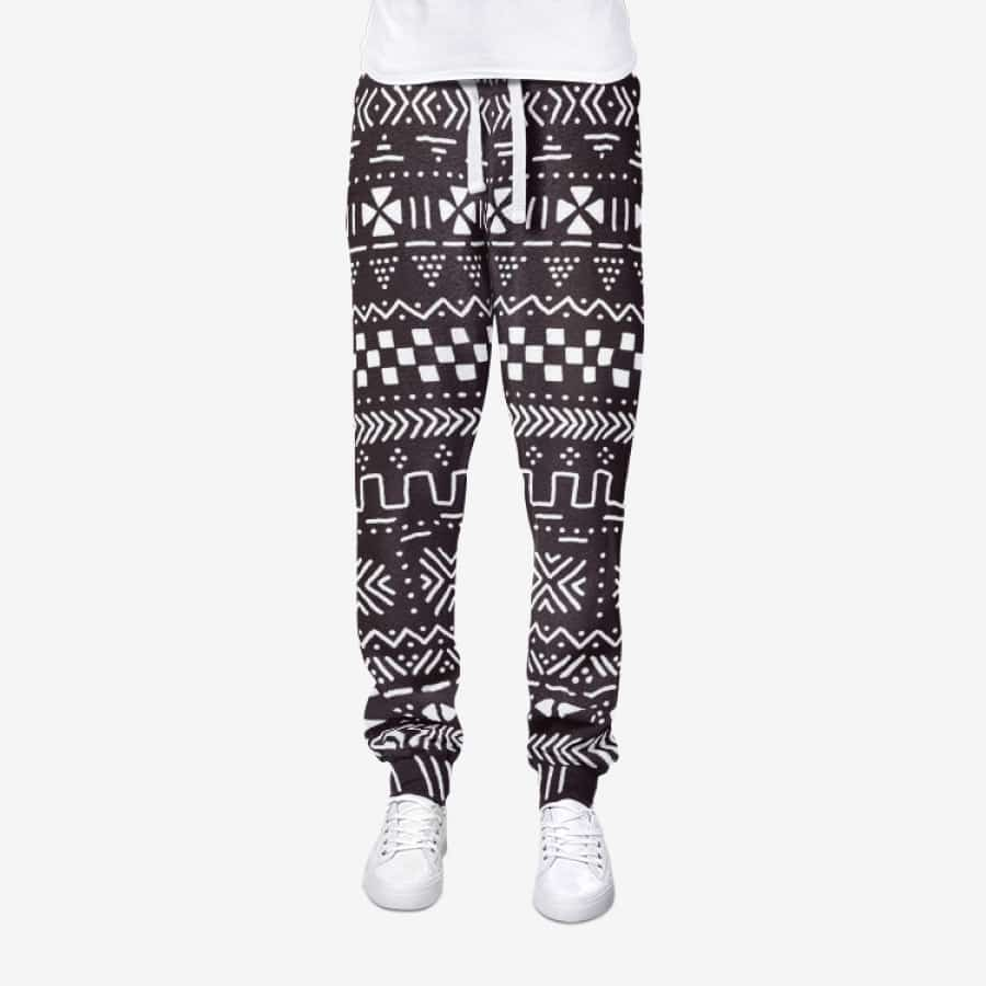 Tribal African Mud Cloth Men's Joggers Sweatpants - S / White - Men's Bottoms