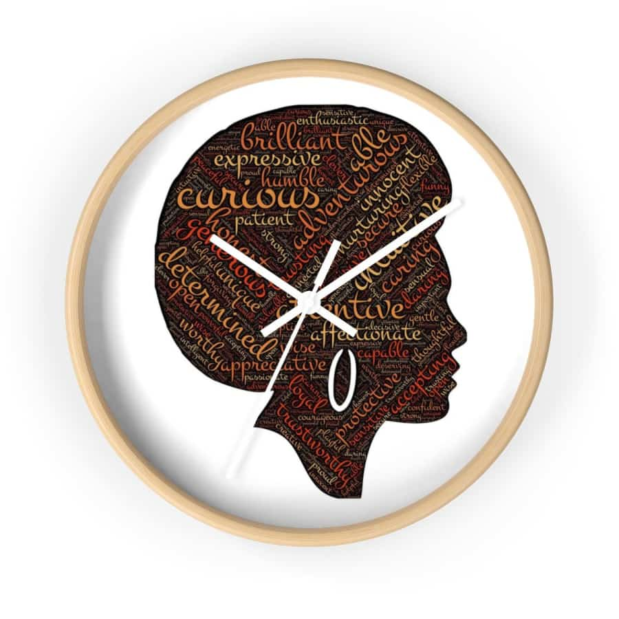 Modern Afro Queen Wall clock - 10 in / Wooden / White - Home Decor