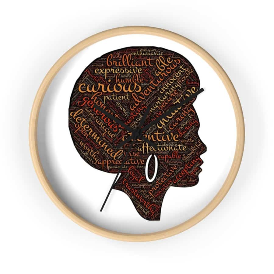 Modern Afro Queen Wall clock - 10 in / Wooden / Black - Home Decor