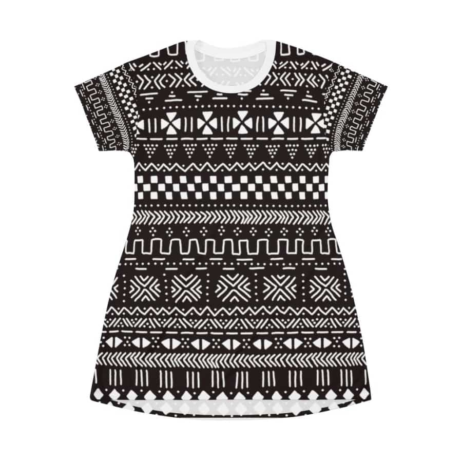 Tribal African mud cloth T-Shirt Dress - L - All Over Prints