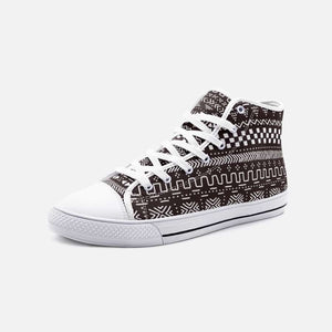 Tribal African Mud Cloth unisex high canvas shoes - 5 Women / White - Men's Shoes
