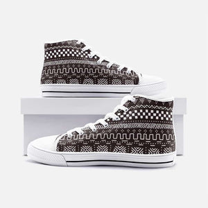 Tribal African Mud Cloth unisex high canvas shoes - Men's Shoes