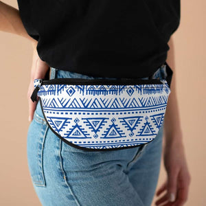 Tribal Blue African Mud Cloth Fanny Pack - One Size - Bags