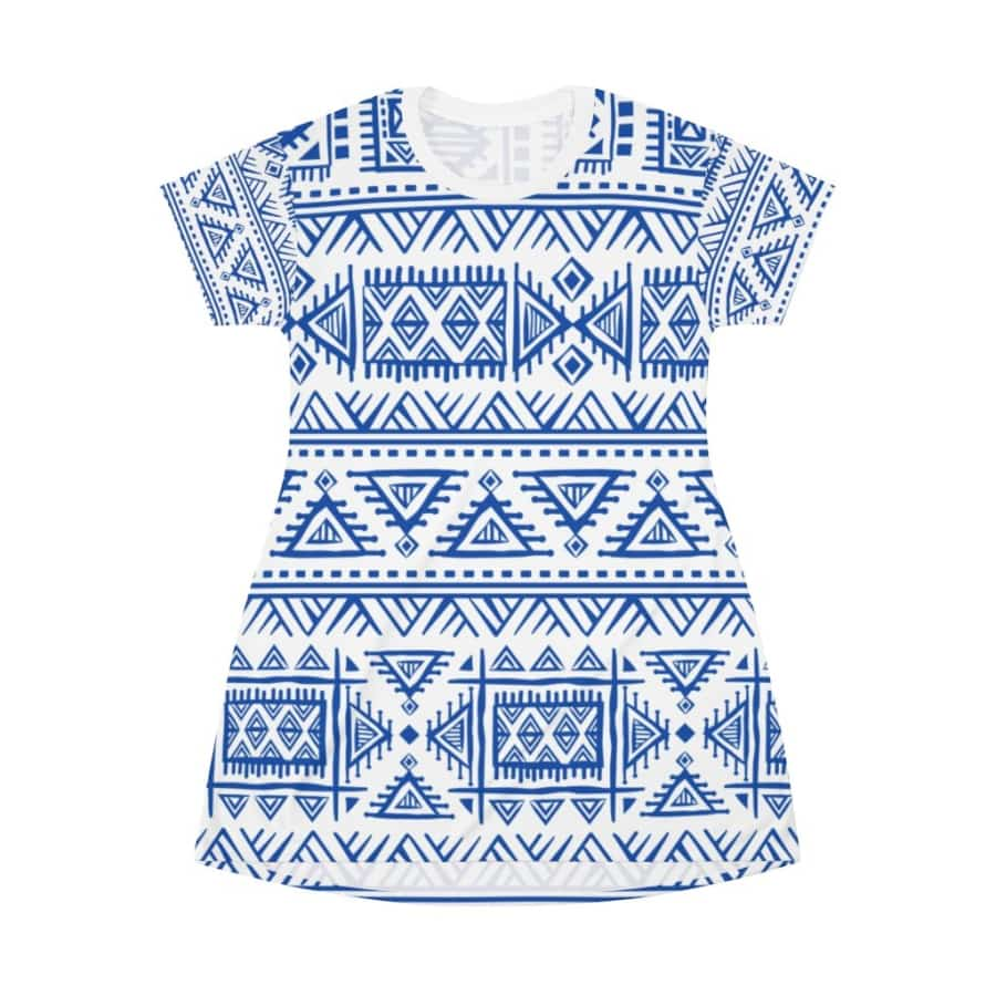 Tribal Blue African Mud Cloth T-Shirt Dress - L - All Over Prints