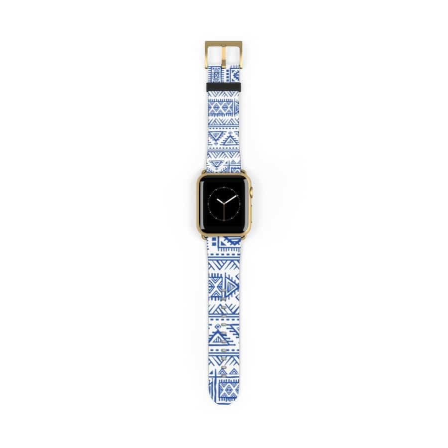 Tribal Blue African Mud cloth Watch Band - 38 mm / Gold Matte - Accessories