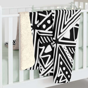White African mud cloth Sherpa Fleece Blanket - 50 x 60 - Home Decor