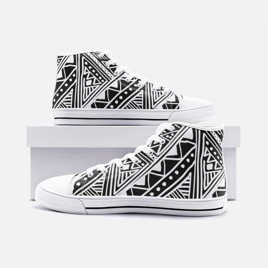 White African Mud cloth Unisex High Top Canvas Shoes - Men's Shoes
