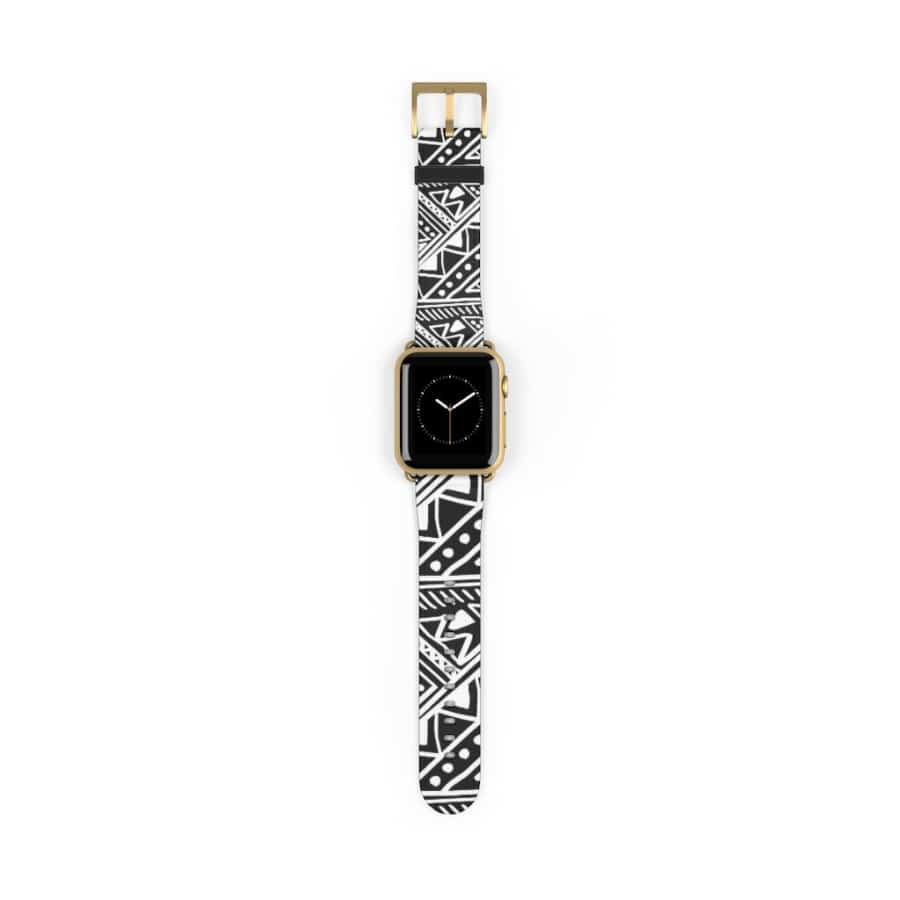 White African Mud Cloth watch Band - 38 mm / Gold Matte - Accessories
