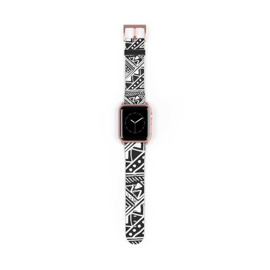 White African Mud Cloth watch Band - 38 mm / Rose Gold Matte - Accessories