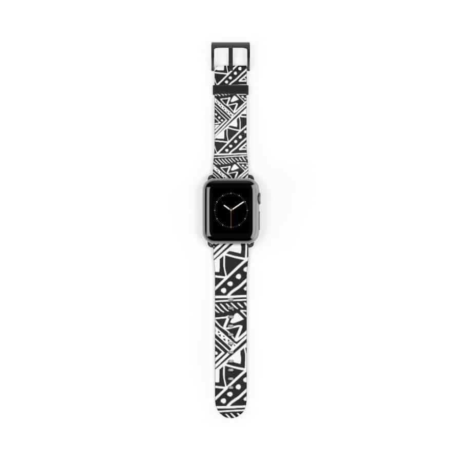 White African Mud Cloth watch Band - 38 mm / Black Matte - Accessories