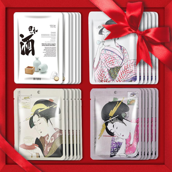 [TKJP00512-02-024]MITOMO Type 2 [JP UKIYOE trial set 24 sheets] Beautiful skin face mask - Made in Japan - Best gift to moisturize your skin.
