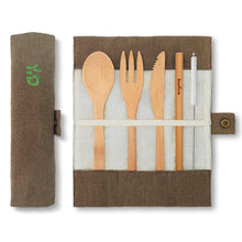 Afbeelding in Gallery-weergave laden, Bambaw Cutlery Set Packshot Open Closed Pouch Olive