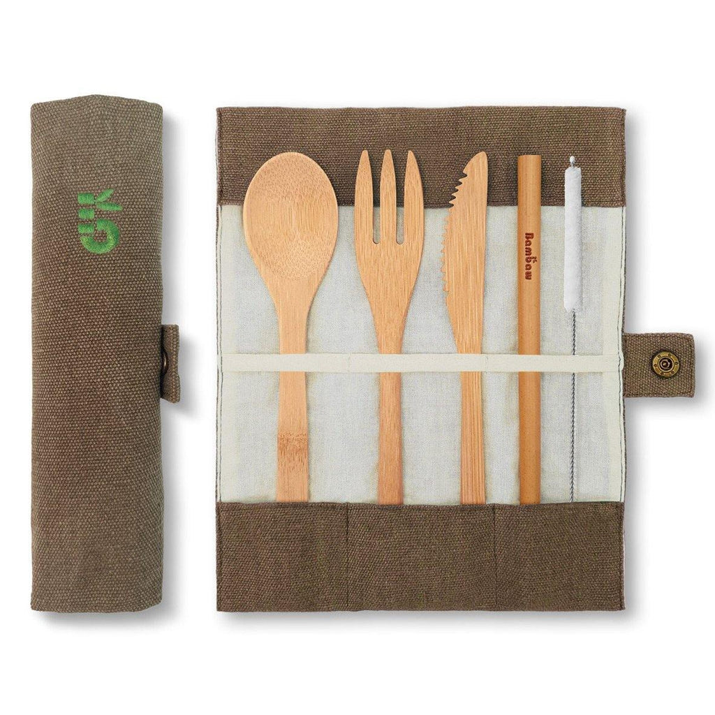 Bambaw Cutlery Set Packshot Open Closed Pouch Olive