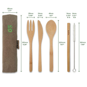 Bambaw Bamboo Cutlery Set Technical Measurements