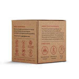 Georganics plastic free toothpaste box side