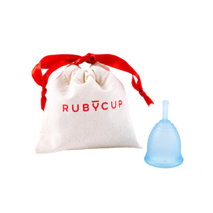 Ruby Cup Menstrual Cup Blue with Cotton Bag