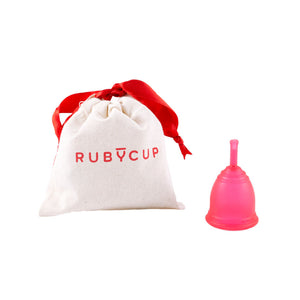 Ruby Cup Menstrual Cup Red with Cotton Bag