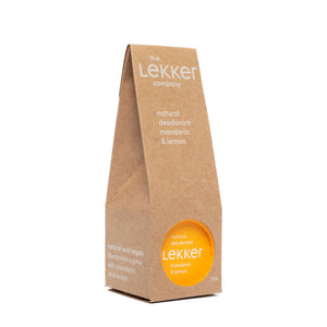 The Lekker Company Natural Deodorant Mandarin and Lemon with Packaging