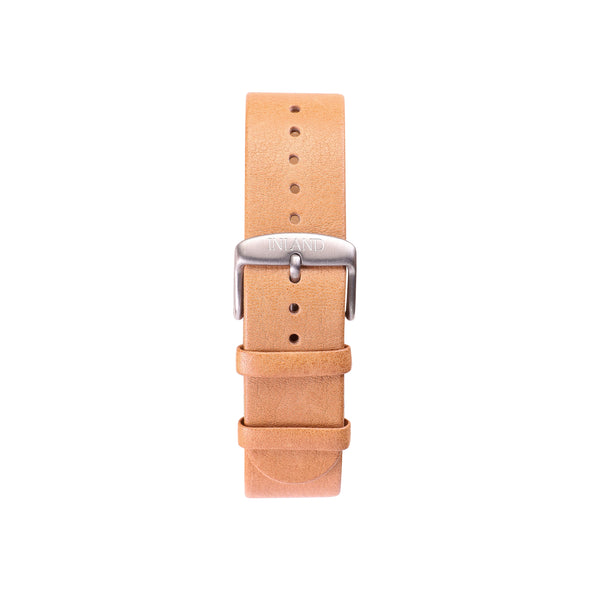 Buy design watches online / Watch NATURAL ITALIAN LEATHER BELT 20 MM  SILVER BUCLKE- NATURAL LEATHER orange brown- maison-inland - trendy classic watches onilne