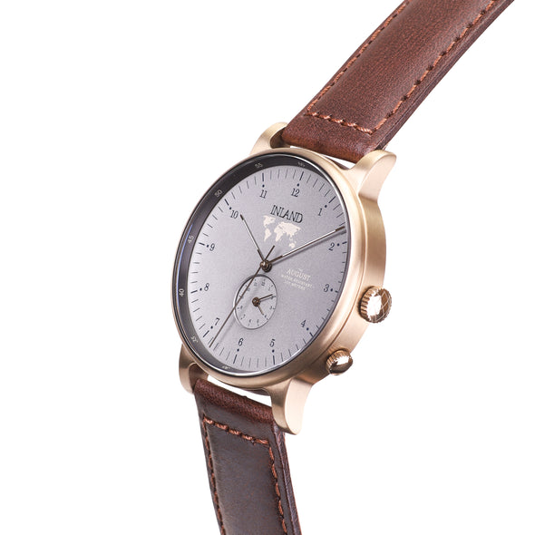 Buy custom design watches online shipping worldwide / Watch THE AUGUST - ANTIQUE GOLD / GREY - maison-inland - best watch shop online quality durable wristwatches
